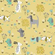 A Walk in The Park by Makower UK - 6457 - Dogs on Chartreuse - 2143_G - Cotton Fabric